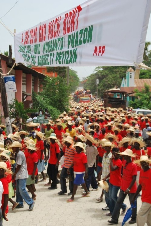 Haitian farmers protesting Monsanto seeds.