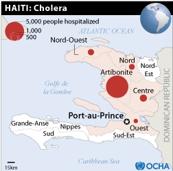 Haiti cholera epidemic as of November 10. Map by UN Office for Coordination of Humanitarian Affairs (OCHA).