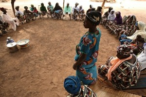 The Ikidia Saving for Change group holds a weekly meeting in Domba, Mali.